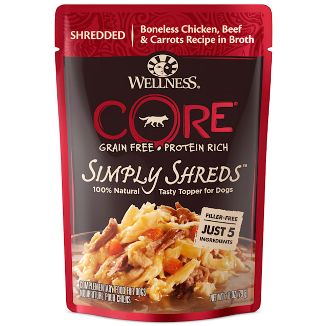 Wellness CORE Simply Shreds Natural Grain Free Chicken, Beef & Carrots Wet Dog Food Topper, 2.8 oz., Case of 12 - Carousel image #1