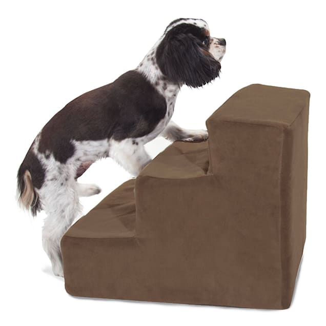 Majestic Pet Products 3-Step Chocolate Suede Pet Stairs - Carousel image #1