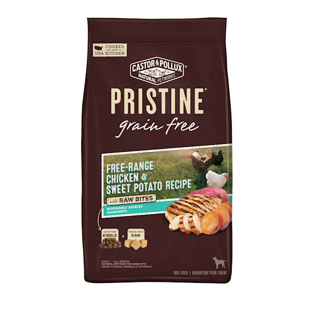Castor & Pollux Pristine Grain Free Free-Range Chicken and Sweet Potato Recipe with Raw Bites Dry Dog Food, 18 lbs. - Carousel image #1