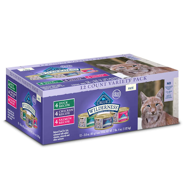 Blue Buffalo Wilderness Natural Adult Chicken, Salmon, Duck Pate Variety Pack Wet Cat Food, 3 oz., Count of 12 - Carousel image #1