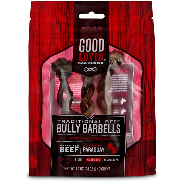 Good Lovin' Traditional Beef Mini Bully Barbell Dog Chew, Pack of 3 - Carousel image #1