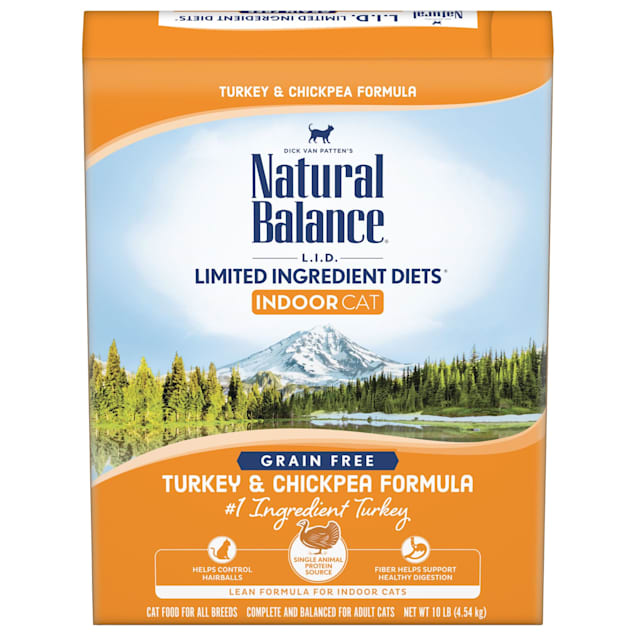Natural Balance L.I.D. Limited Ingredient Diets Turkey & Chickpea Formula Dry Cat Food, 10 lbs. - Carousel image #1