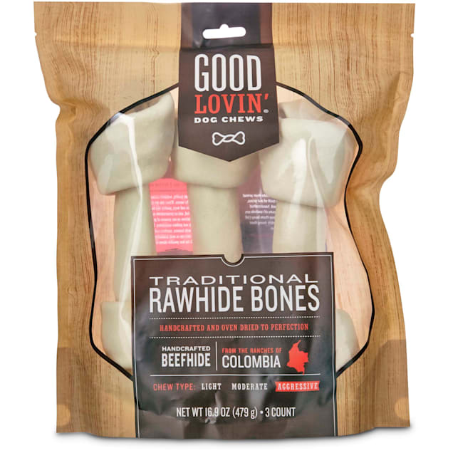 Good Lovin' Traditional Rawhide Bone Dog Chews, 8-inch, Pack of 3 - Carousel image #1
