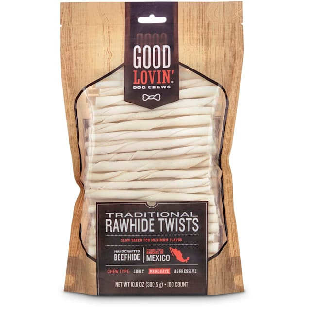 Good Lovin' Traditional Rawhide Twist Dog Chews, Pack of 100 - Carousel image #1