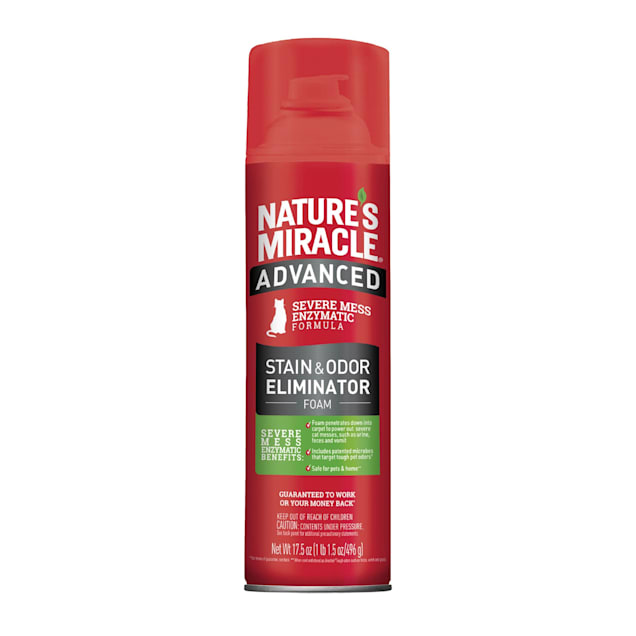 Nature's Miracle Advanced Stain and Odor Eliminator Foam For Severe Cat Messes Aerosol, 17.5 oz. - Carousel image #1