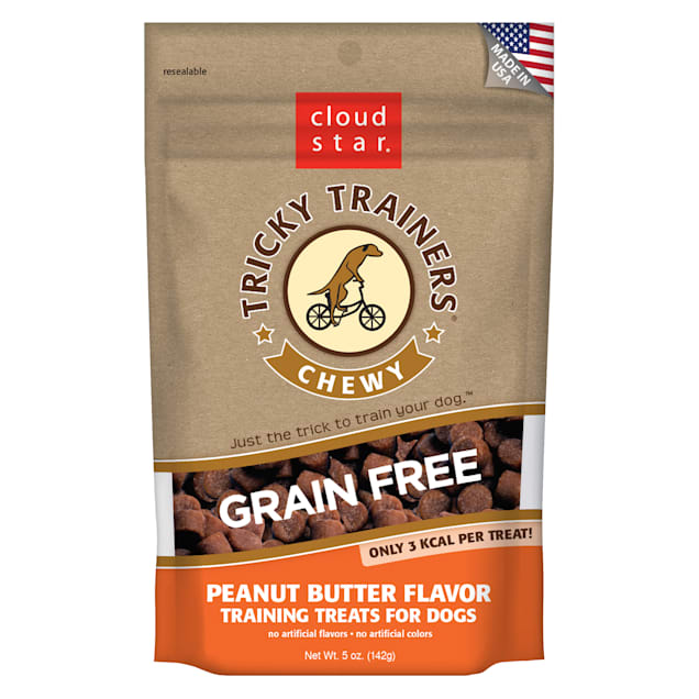 Cloud Star Chewy Tricky Trainers Grain Free Peanut Butter Dog Treats, 5 oz - Carousel image #1