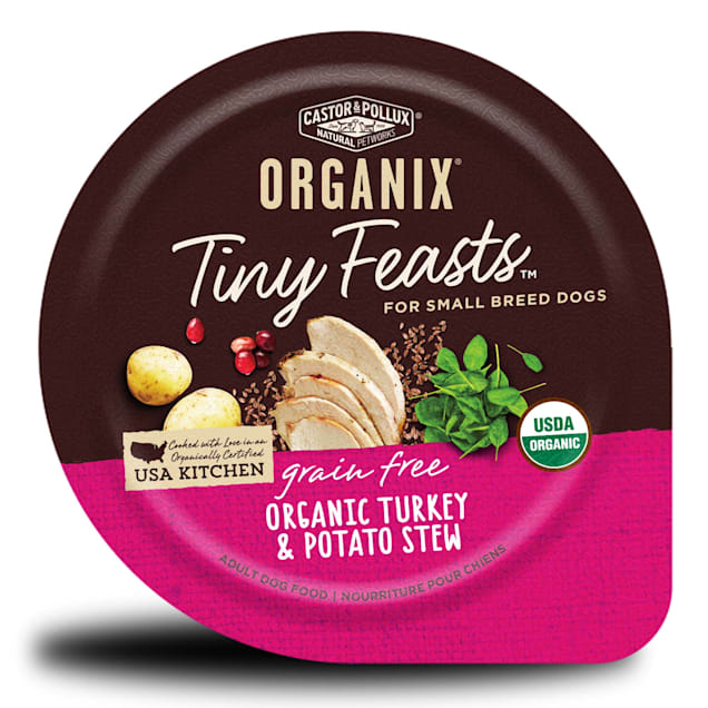 Castor & Pollux Organix Tiny Feasts Grain Free Organic Turkey & Potato Stew Wet Dog Food, 3.5 oz. - Carousel image #1