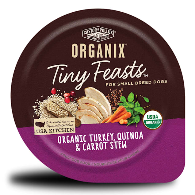 Castor & Pollux Organix Tiny Feasts Organic Turkey, Quinoa and Carrot Stew Wet Dog Food, 3.5 oz., Case of 12 - Carousel image #1