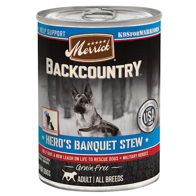 Merrick Backcountry Hero's Banquet Grain Free Wet Dog Food, 12.7 oz., Case of 12 - Carousel image #1
