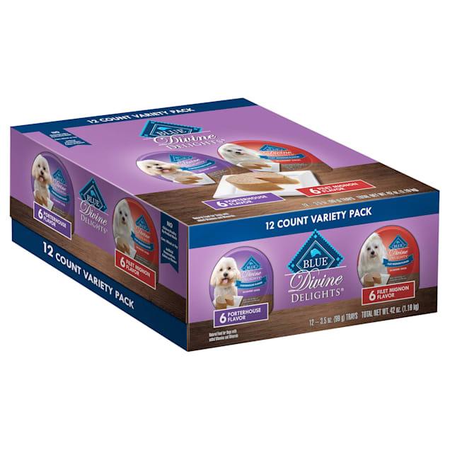 Blue Buffalo Blue Divine Delights Pate Filet Mignon/Porterhouse Variety Pack Dog Food, 3.5 oz., Case of 12 - Carousel image #1