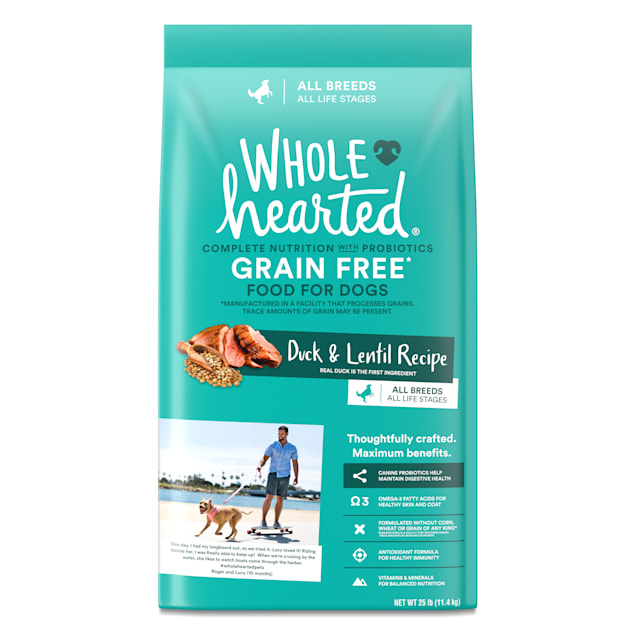 WholeHearted Grain Free All Life Stages Duck and Lentil Recipe Dry Dog Food, 25 lbs. - Carousel image #1