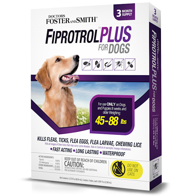 Doctors Foster + Smith Fiprotrol Topical Flea & Tick Control For Dogs 45 to 88 lbs, Pack of 3 - Carousel image #1
