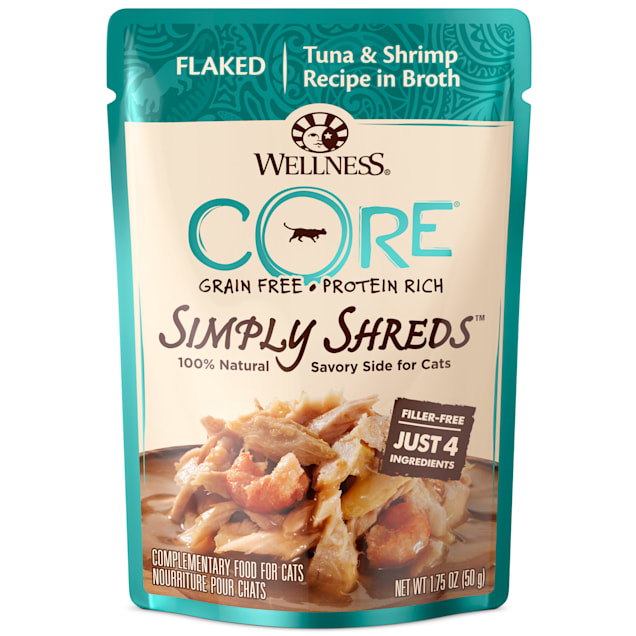 Wellness CORE Simply Shreds Natural Grain Free Tuna & Shrimp Wet Cat Food Mixer or Topper, 1.75 oz., Case of 12 - Carousel image #1