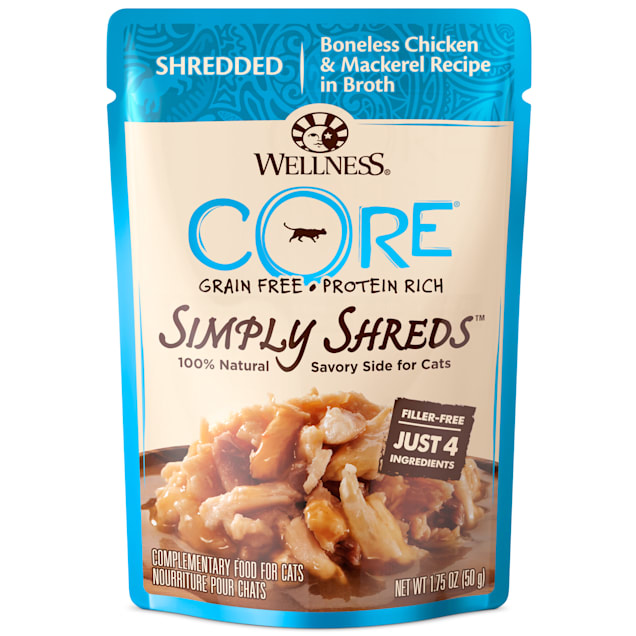 Wellness CORE Simply Shreds Natural Grain Free Wet Cat Food Mixer or Topper, Chicken and Mackerel, 1.75 oz., Case of 12 - Carousel image #1