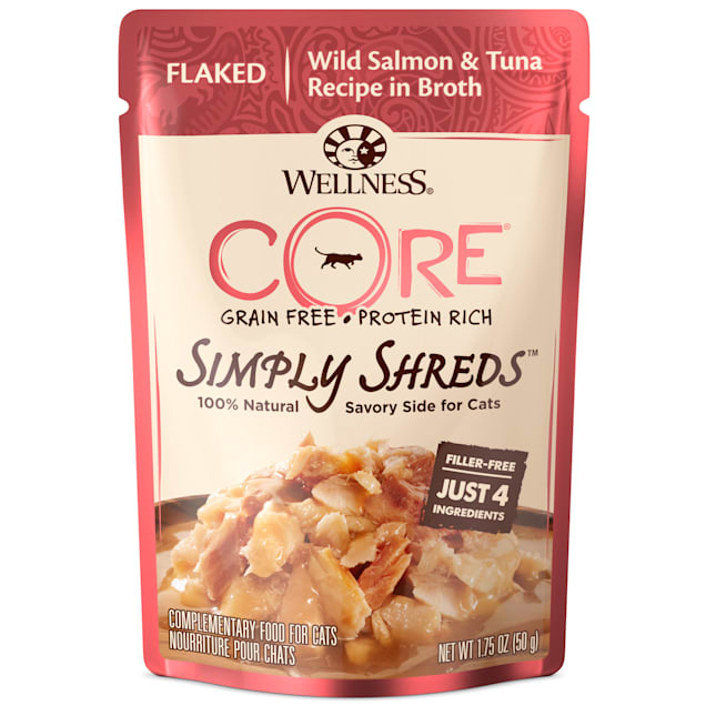 Wellness CORE Simply Shreds Natural Grain Free Boneless Chicken Wet Cat Food Topper, 1.75 oz., Case of 12 - Carousel image #1