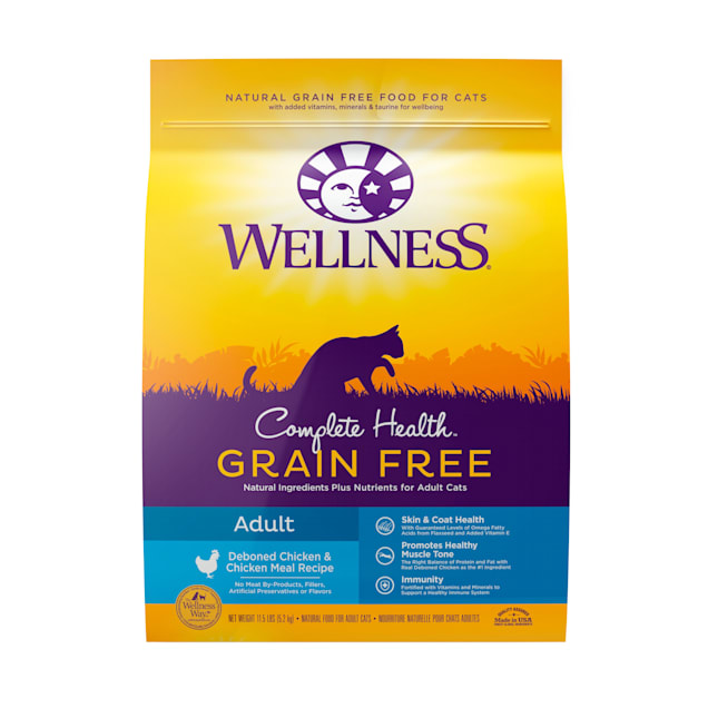 Wellness Complete Health Natural Grain Free Deboned Chicken & Chicken Meal Dry Cat Food, 11.5 lbs. Bag - Carousel image #1