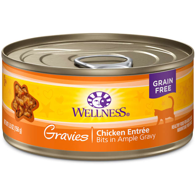 Wellness Natural Canned Grain Free Gravies Chicken Dinner Wet Cat Food, 5.5 oz., Case of 12 - Carousel image #1