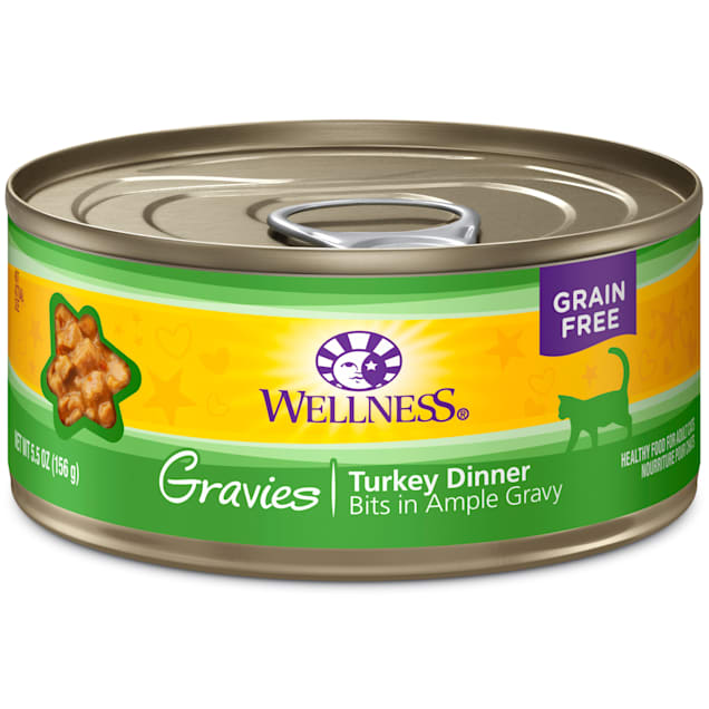 Wellness Complete Health Natural Canned Grain Free Gravies Turkey Dinner Wet Cat Food, 5.5 oz., Case of 12 - Carousel image #1