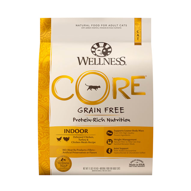 Wellness CORE Natural Grain Free Chicken & Turkey Dry Indoor Cat Food, 11-Pound Bag - Carousel image #1