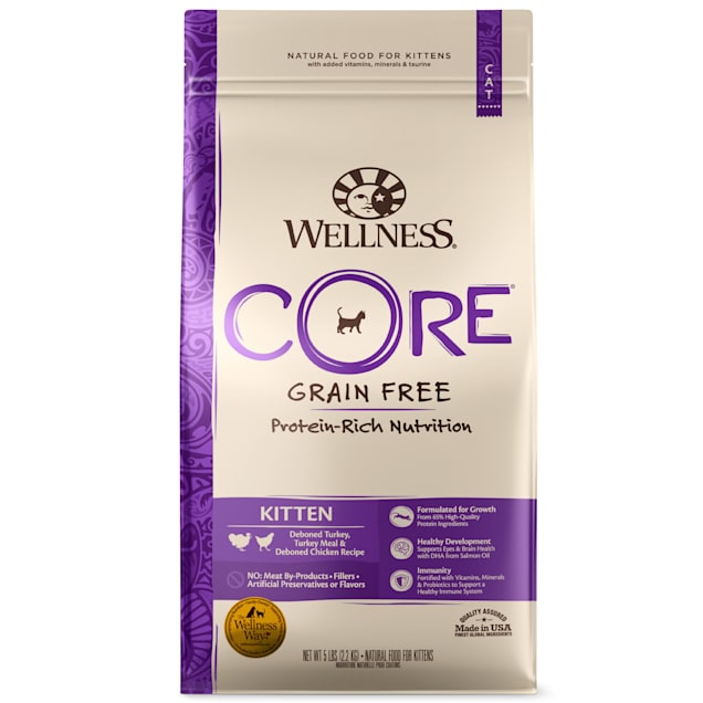 Wellness CORE Natural Grain Free Turkey, Whitefish & Chicken Dry Kitten Food, 5-Pound Bag - Carousel image #1