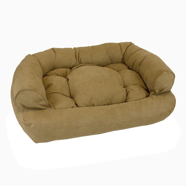 """Snoozer Luxury Micro Suede Overstuffed Pet Sofa in Camel, 30"""" L x 40"""" W - Carousel image #1"""