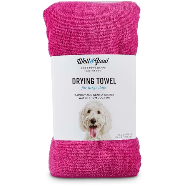 Well & Good Pink Drying Towel for Dogs, Large - Carousel image #1