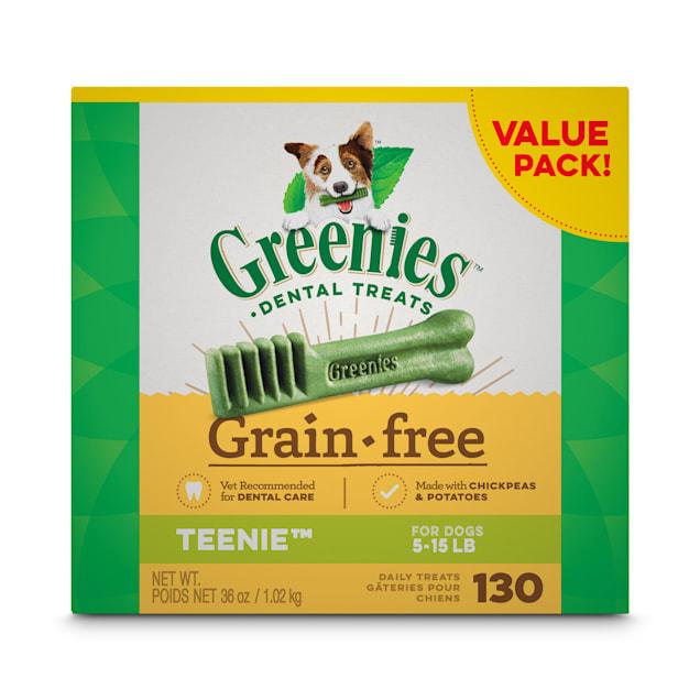 Greenies Grain Free Teenie Natural Dog Dental Care Chews Oral Health Dog Treats, 36 oz., Count of 130 - Carousel image #1