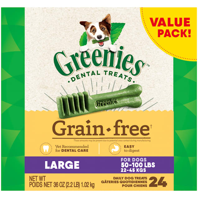 Greenies Grain Free Large Natural Dog Dental Care Chews Oral Health Dog Treats, 36 oz., Count of 24 - Carousel image #1