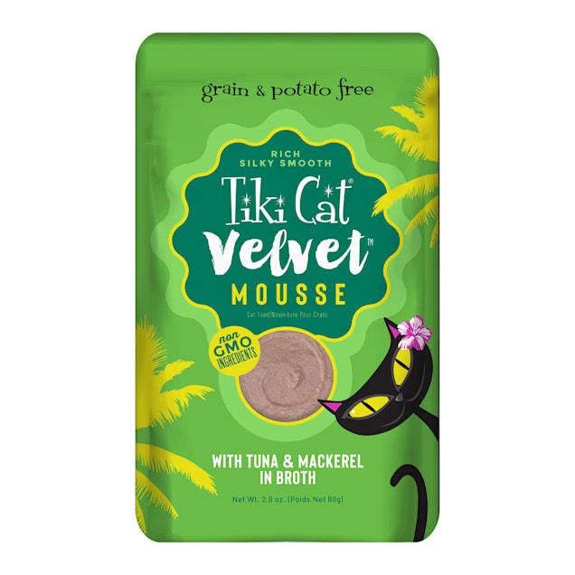 Tiki Cat Velvet Mousse Tuna & Mackerel Wet Cat Food, 2.8 oz., Case of 12 - Carousel image #1