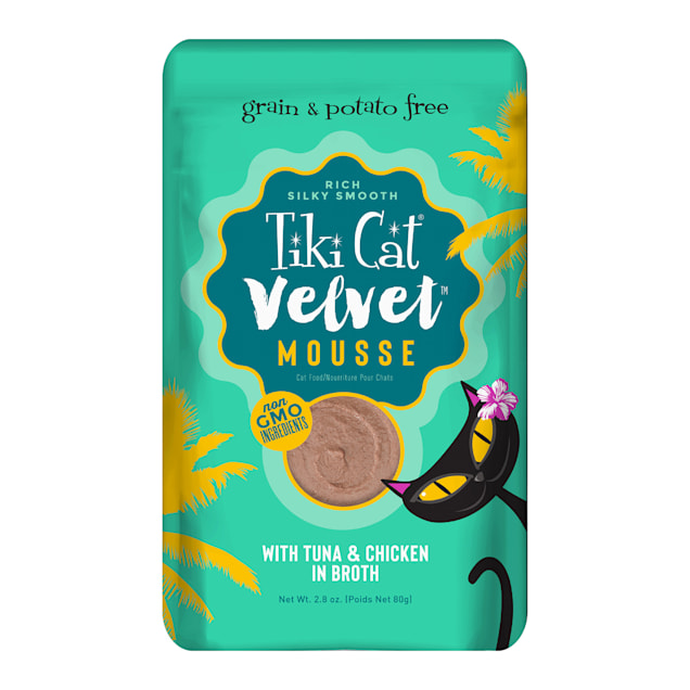 Tiki Cat Velvet Mousse Tuna & Chicken Wet Cat Food Pouch, 2.8 oz., Case of 12 - Carousel image #1