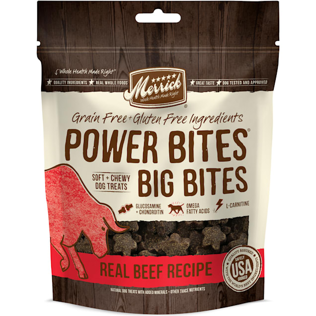 Merrick Power Bites Big Bites Real Beef Dog Treats, 6 oz. - Carousel image #1