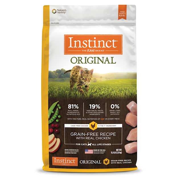 Instinct Original Grain-Free Recipe with Real Chicken Freeze-Dried Raw Coated Dry Cat Food, 11 lbs. - Carousel image #1