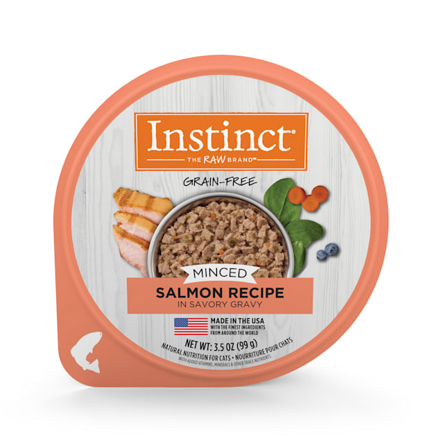 Instinct Grain-Free Minced Recipe with Real Salmon Wet Cat Food Cups, 3.5 oz., Case of 12 - Carousel image #1