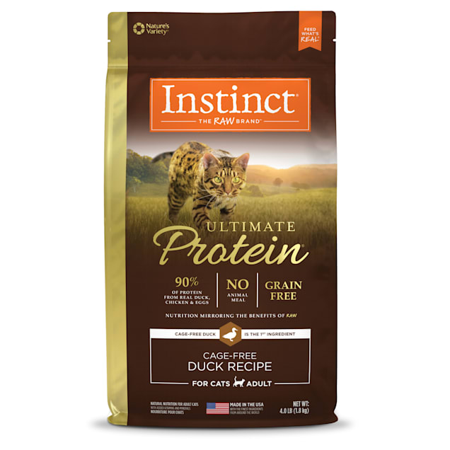 Instinct Ultimate Protein Grain-Free Cage-Free Duck Recipe Freeze-Dried Raw Coated Dry Cat Food, 4 lbs. - Carousel image #1