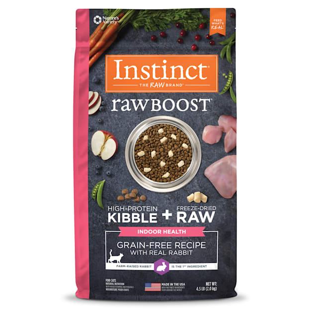 Instinct Raw Boost Indoor Grain-Free Recipe with Real Rabbit Dry Cat Food with Freeze-Dried Raw Pieces, 4.5 lbs. - Carousel image #1