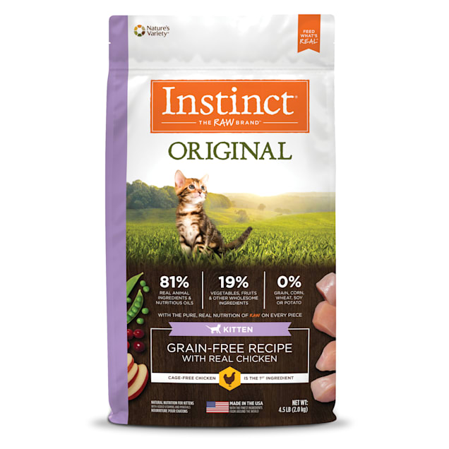 Instinct Original Kitten Grain-Free Recipe with Real Chicken Freeze-Dried Raw Coated Dry Food, 4.5 lbs. - Carousel image #1
