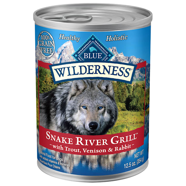 Blue Buffalo Blue Wilderness Snake River Grill with Trout, Venison & Rabbit Wet Dog Food, 12.5 oz., Case of 12 - Carousel image #1