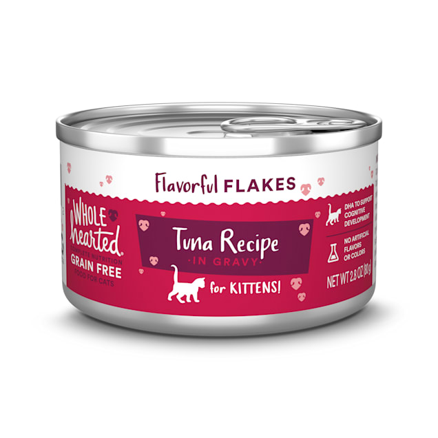 WholeHearted Canned Kitten Food - Grain Free Tuna Recipe Flaked in Gravy, 2.8 OZ, Case of 12 - Carousel image #1