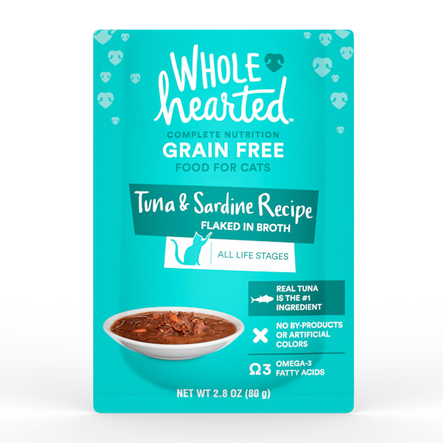 WholeHearted Grain Free Tuna & Sardine Recipe Flaked in Broth Wet Cat Food, 2.8 oz., Case of 12 - Carousel image #1