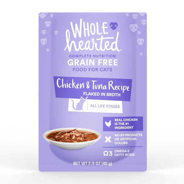 WholeHearted Grain Free Chicken & Tuna Recipe Flaked in Broth Wet Cat Food, 2.8 oz., Case of 12 - Carousel image #1
