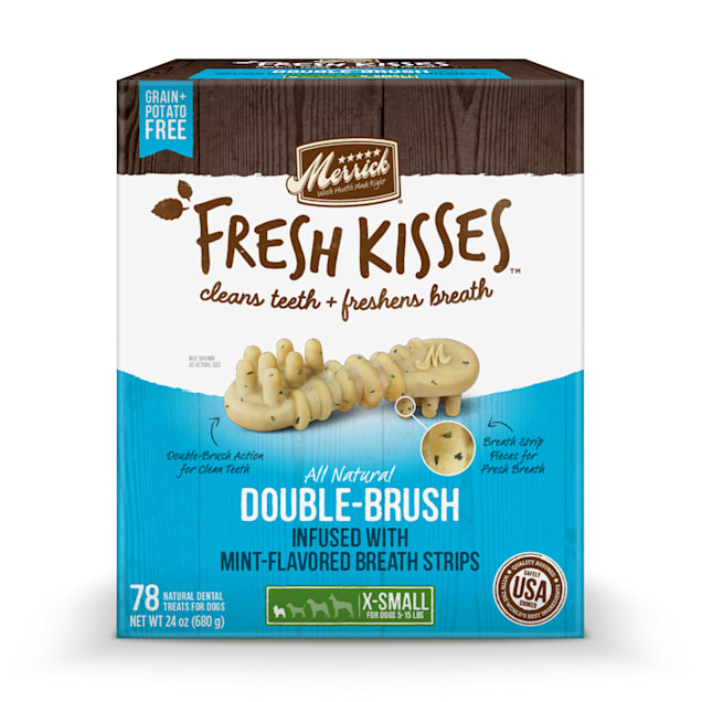 Merrick Fresh Kisses Mint Breath Strips Extra Small Brush Dental Dog Treats, 78 Count - Carousel image #1