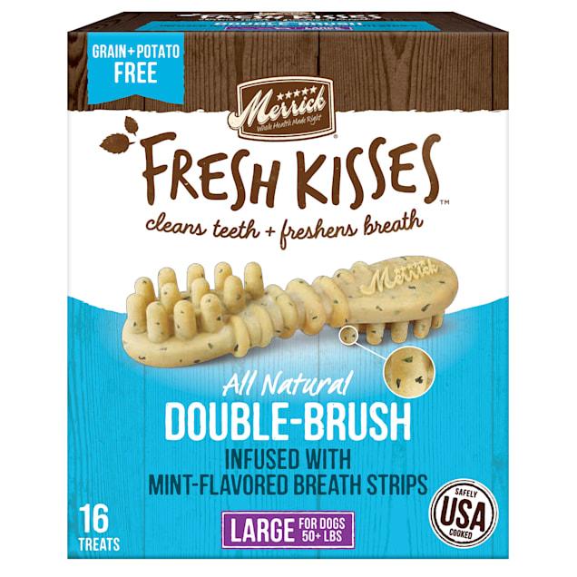 Merrick Fresh Kisses Mint Breath Strips Large Brush Dental Dog Treats, 16 Count - Carousel image #1