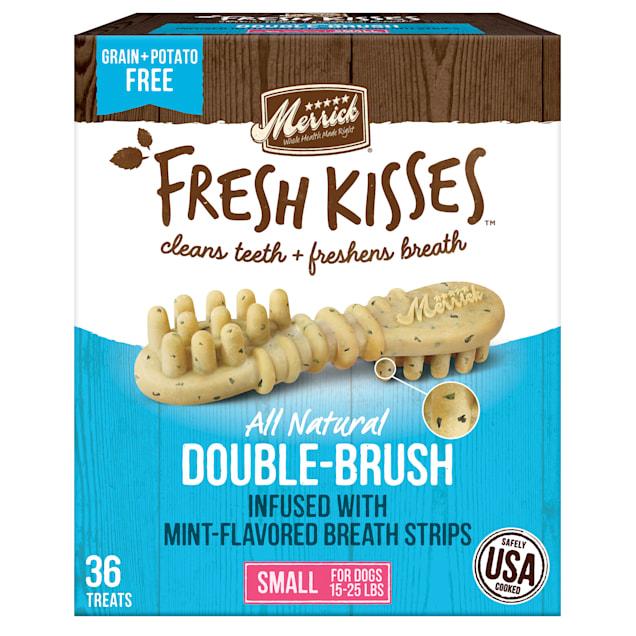 Merrick Fresh Kisses Mint Breath Strips Small Brush Dental Dog Treats, 36 Count - Carousel image #1