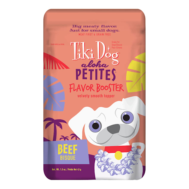 Tiki Dog Aloha Petites Beef Bisque Small Breed Dog Treat Pouches, 1.5 oz., Case of 12 - Carousel image #1