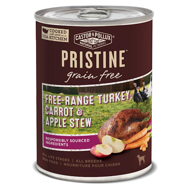 Castor & Pollux Pristine Grain Free Free-Range Turkey, Carrot & Apple Stew Wet Dog Food, 12.7 oz., Case of 12 - Carousel image #1