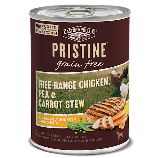 Castor & Pollux Pristine Grain Free Free-Range Chicken, Pea & Carrot Stew Wet Dog Food, 12.7 oz., Case of 12 - Carousel image #1