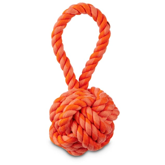 "Leaps & Bounds Toss and Tug Red Rope Ball Dog Toy With Handle In Assorted Orange Colors, 6.5"" - Carousel image #1"