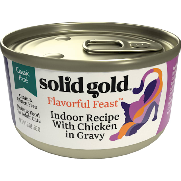 Solid Gold Flavorful Feast Indoor Recipe With Chicken in Gravy Holistic Grain Free Canned Cat Food, 3 oz., Case of 12 - Carousel image #1