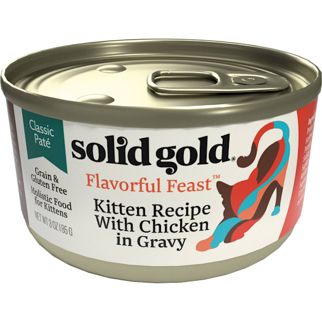 Solid Gold Flavorful Feast Kitten Recipe With Chicken in Gravy Holistic Grain Free Canned Cat Food, 3 oz., Case of 12 - Carousel image #1