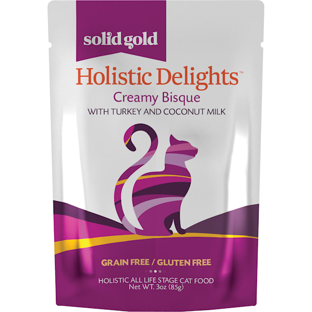 Solid Gold Holistic Delights Turkey & Coconut Milk Creamy Bisque Cat Food, 3 oz., Case of 12 - Carousel image #1